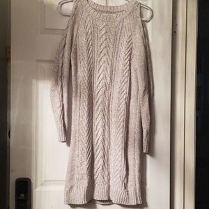Loft open shoulder long sleeve sweater dress